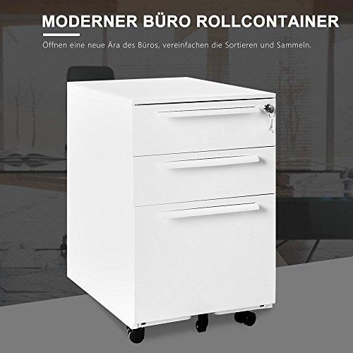 Rollcontainer abschließbar inkl. 3 Schübe, grundsolide Verarbeitung, Schreibtisch container Büromöbel,Schubladenschrank Metall, Büro Rollkontainer mit Schubladen, Hängeregistratur (Weiss A) - 4