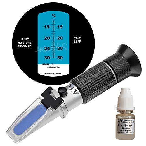 HHTEC Imker Refraktometer Honig 12-30% Wasser Feucht Handrefraktometer für Honig 5 Fach verbesserte Genauigkeit mit Anleitung in Deutsch