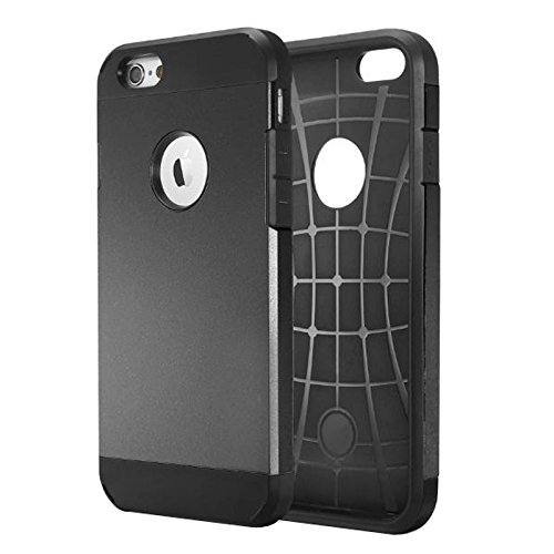 JING Pour iPhone 6 / 6s, Housse de protection rigide pour PC + TPU Tough Armor Color Hard ( Color : Grey ) Black