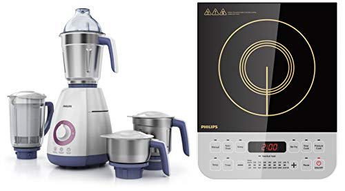 Philips Viva Collection HL7701/00 750-Watt Mixer Grinder + Philips Viva Collection HD4928/01 2100-Watt Induction Cooktop (Black)