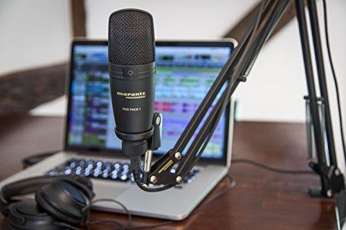 Marantz Professional PodPack, Microfono a Condensatore USB con Supporto da Scrivania, Morsetto Regolabile e Cavo USB