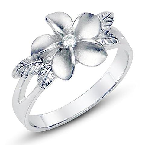 925 Sterting Silver Plumeria Cubic Zirconia CZ w/ Maile Leaf Hawaiian Flower Band Ring Sz 8 - UK Size: P