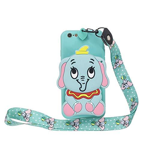 Miagon Silikon Hülle für iPhone 8/7,3D Süß Brieftasche Lager Tasche Design mit Halskette Kordel Schnur Handykette Necklace Band,Blau Elefant