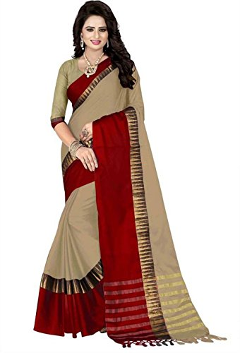 Beige and Red color Cotton Silk saree with blouse piece for Women