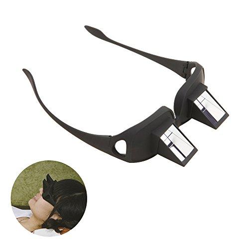 Tera® Unisex Relaxbrille Horizontal Faule Brille Liegeradbrille Periskop für Bettlesen Buchlesen Lesen Fernsehen (Einfach hinlegen und Buch lesen) (Schwarz)