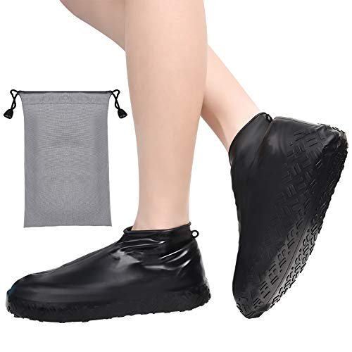 Wilxaw Silicone Overshoes, Reusable Waterproof Shoes Cover with Drawstring Storage Bag, Washable Non Slip Rain Boots for Rainy Snowy Day, Black