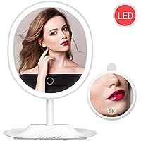 BESCHOI Espejo Maquillaje con Luz LED, Espejo Aumento 5X, Espejo Cosmético Pantalla Táctil,Regulable Luz LED Diurna, Rotación de 120°, Carga con USB, Portátil y Sin Cable(Blanco)