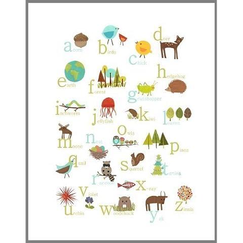 Nature Themed English Alphabet Wall Art Print