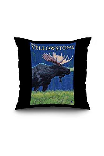 moose-at-night-west-yellowstone-montana-18x18-spun-polyester-pillow-case-black-border