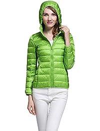Amphia Abrigo Mujer Primavera Plumas, Abrigo con Capucha Abrigo Corto Abrigo De Neopreno Mujer Abrigo
