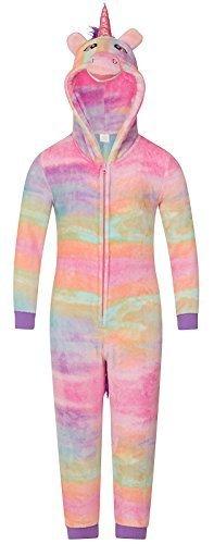 iler Fleece Overall mit Kapuze Einteiler Hausanzug Bademantel Schlafanzüge Mädchen Damen - Rainbow Einhorn, 4 Jahre (Xmas Pjs Kinder)