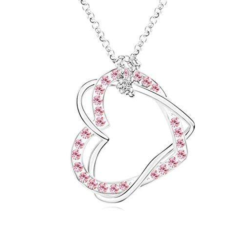Daesar Schmuck Damenkette Vergoldet 2 Herz Halsketten Zirkonia Anhänger Halskette für Frauen