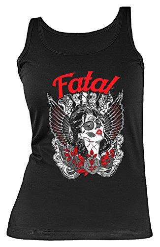 Motiv Shirt Fatal Damenshirt : Fatal Sugar Skull - Los Muertos Girl Flügel Wings Gr: S ()
