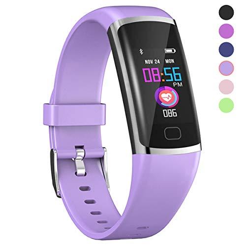 Polywell Fitness-Tracker, Aktivitätstracker mit Herzfrequenz-Monitor und Schlaf-Monitor, Bluetooth, wasserdicht, Schrittzähler und Kalorienzähler für Android und iOS (Light Purple)