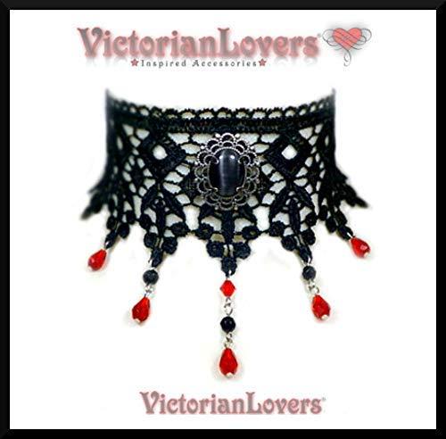Collarino Pizzo Nero Cabochon Pietra Nera Effetto Occhio di Gatto Dama Gothic Victorian Vampire Burlesque Elegante Raffinato Vittoriano