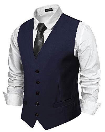 YCUEUST Uomo Single Breasted Plain Classici Senza Maniche Gilet Ufficiali Waistcoat Blu 2 X Large