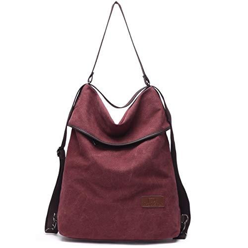 Travistar Canvas Tasche Damen Rucksack Handtasche Damen Vintage Umhängentasche Anti Diebstahl Tasche Hobo Tasche für Alltag Büro Schule Ausflug Einkauf (Weinrot)