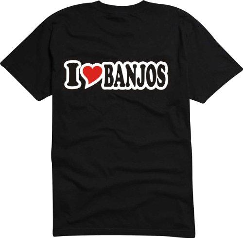 T-Shirt Herren - I Love Heart - I LOVE BANJOS Schwarz