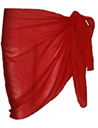 Plain Half Red Cotton Sarong