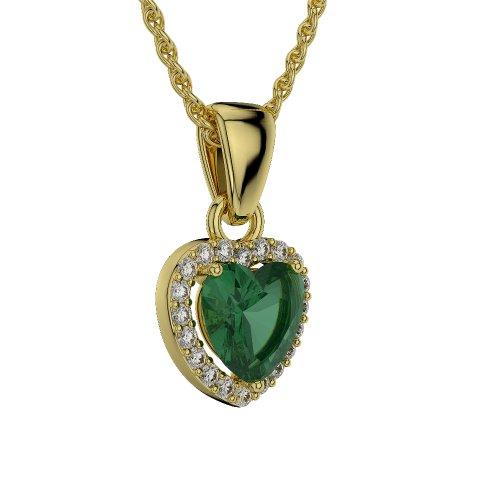Or jaune 18carats 1.60CT G-H/VS sertie de diamants en forme de cœur Émeraude et colliers Agdnc-1064