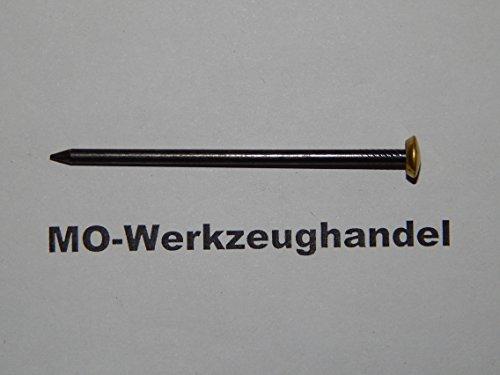 30pezzi in acciaio di immagine Chiodi 2,0X 20mm, con testa rivestito con ottone, Materiale: ferro gehaertet, geblaeut, chiodo in acciaio - Cornice In Ottone