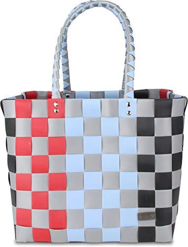 normani Einkaufskorb Shopper geflochten aus Kunststoff - robuster Strandkorb aus wasserabweisendem Material Farbe Classic/Hina