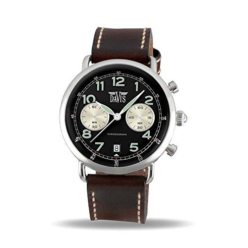 f8a2af84c872 Davis 2120 – Reloj piloto hombre cronógrafo retro reloj negro Panda pulsera piel  marrón