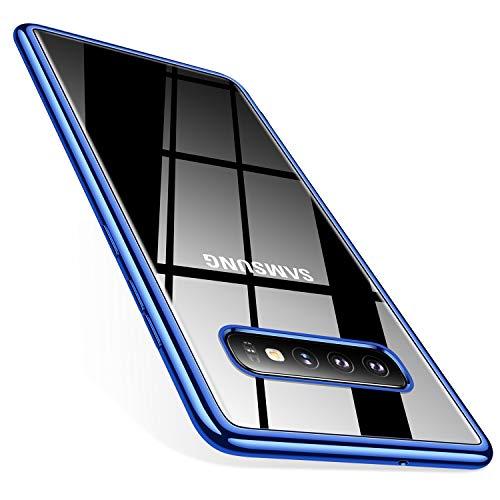 TORRAS Crystal Clear Kompatibel mit Galaxy S10 Hülle, Transparent dünn Slim [Anti-Gelb] hülle Weiche Silikon Bumper Case Scratchproof Kratzfest Durchsichtige Schutzhülle Handyhülle - Blau
