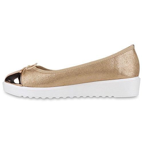 Damen Slipper Loafers Lack Metallic Schuhe Flats Profilsohle Rose Gold Schleife