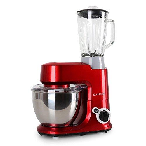 Klarstein Carina Rossa Küchenmaschine Zerkleinerer 4L Edelstahlschüssel 6 Stufen
