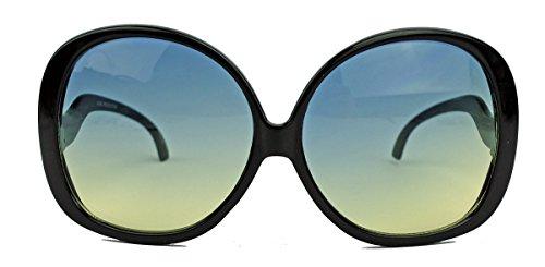 nnenbrille im Stil der 60er 70er Jahre Sixties Pantobrille o CY12 (Schwarz/Sky) (60er Jahre Hippie Stil)