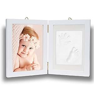 Impronta bambino, Pootack cornice impronta neonato con porta foto in legno per mani e piedi del bambino - Una battesimo regalo perfetto bimbo - Bianca (2 Telaio)