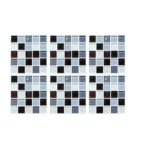 Junjie 6 STÜCKE 3D Selbstklebende Wandaufkleber Simulation Self-Adhesive Wall Stickers Europäischen Geometrische Fliesen Aufkleber Multicolor