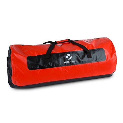 yukatana Quintoni 120 • Seesack • Packsack • Sporttasche • Trekking-Rucksack • Travel-Reiserucksack • 120 Liter Volumen • wasserdicht • Tragegurte • Einhand-Henkel • verstärkter Boden • rot-schwarz