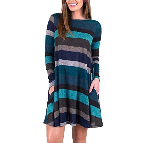 Langarm Shirt Sunday Damen Gestreifte Bedruckte Beiläufig Swing Tunika Kleid Lose Taschen (Blau, M) (Ärmel Tunika Gedruckt)