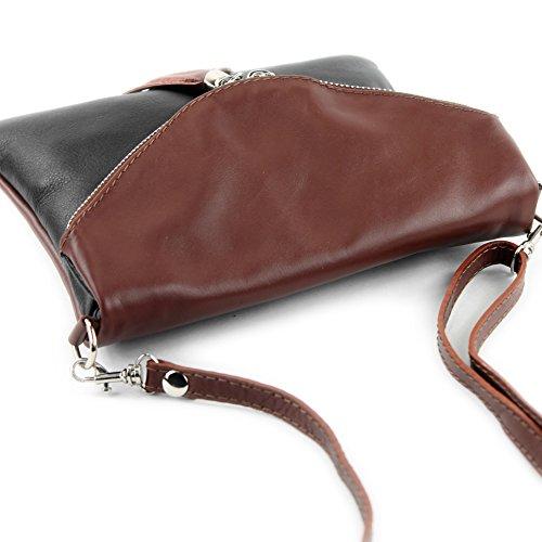 borsa di pelle ital. pochette pochette borsa tracolla Ragazze T139 piccola pelletteria T139 Schwarz/Braun