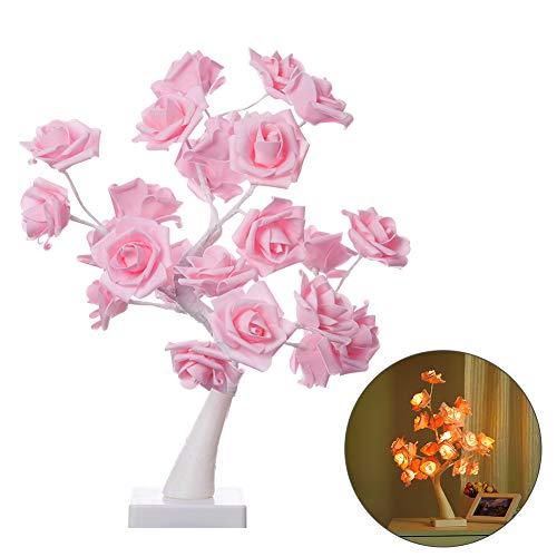 MJ style Tischlampe Rose Blume Schreibtisch Baum Lampe 24 Warmweiße Led-Leuchten Zwei Modus Powered Usb Port Und Batterie Wohnkultur für Valentinstag Party Hochzeit Schlafzimmer