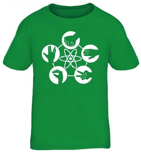 Shirtstreet24, Atom - Stein Schere Papier, Kids Kinder Fun T-Shirt Shirts, Größe: 152/164,kelly green -