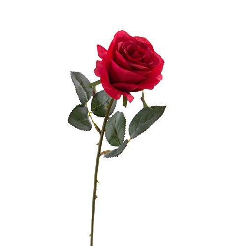 artplants Künstliche Rose Simony, rot, Textil, 45cm, Ø 8cm – Kunstblume