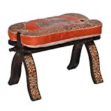 Casa Moro Marokkanischer Kamelhocker orientalischer Hocker mit Leder Sitzkissen | Echtes Kunsthandwerk aus Marrakesch | Mulud Gestell Arab