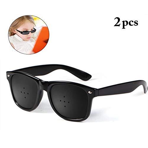 2 Stücke Schwarz Pinhole Single Nose Brille Mikroporöse Anti-Fatigue Brille Swap Vision Pflege Brille Schutzbrille/Brille Mode Dekorative Spiegel (Color : Black Five