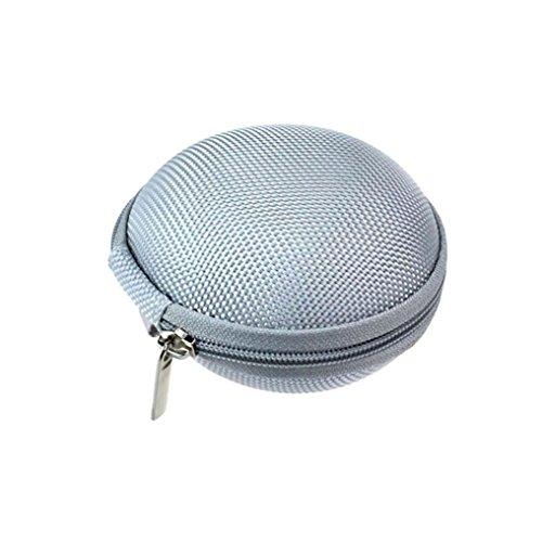 Tonsee® Mini Zipper écouteurs casque Sac de stockage Box étui de transport de casque (Rose) Argent