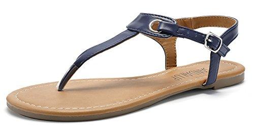 SANDALUP Flache Sandalen mit Metallschnalle für Damen Blau 07