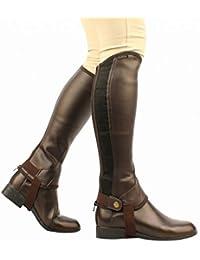 Saxon Equileather de las mujeres polainas botas, negro, XS - 514357, Medium, Marrón
