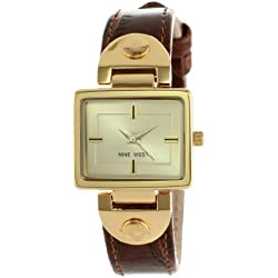 Anne Klein Women's Quartz Watch with Champagne Dial Analog Display and Brown Leather Bracelet - NW/1086CHBN