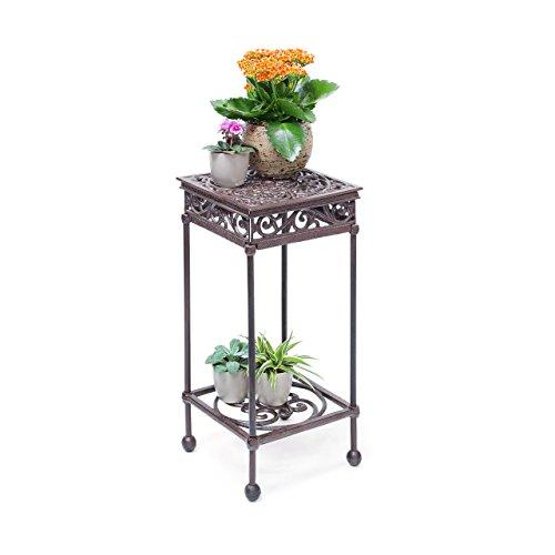 Relaxdays Blumenhocker quadratisch Größe M aus Gusseisen HBT ca. 50,5 x 24 x 24 cm Blumenständer mit 2 Ablagen Beistelltisch für Blumen und Dekoration in Haus und Garten Hocker für Pflanzen, bronze