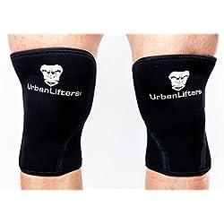 Urban Lifters Ginocchiere (Coppia) Crossfit 7mm Knee Sleeves Ottimo Supporto, Calore, Compressione e miglioramento delle Prestazioni per Squats, WOD's, Crossfit, Weightlifting Powerlifting (Noir, S)