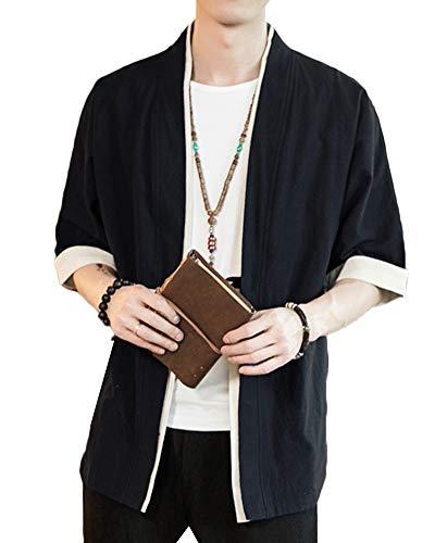 Liangzhu Herren Happi Kimono Haori Jacke Übergangsjacke Mäntel Hanfu Langarmshirts Cardigan Schwarz XL
