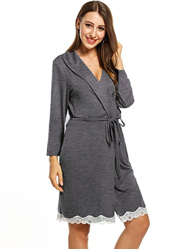 cooshional Donna pigiama vestaglie pizzo con cintura collo con risvolto tunica grigio scuro1
