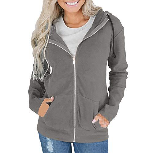 UFACE Mode Frauen Reißverschluss Langarm Sweatshirt Mantel Outwear Kapuzenjacke Mantel